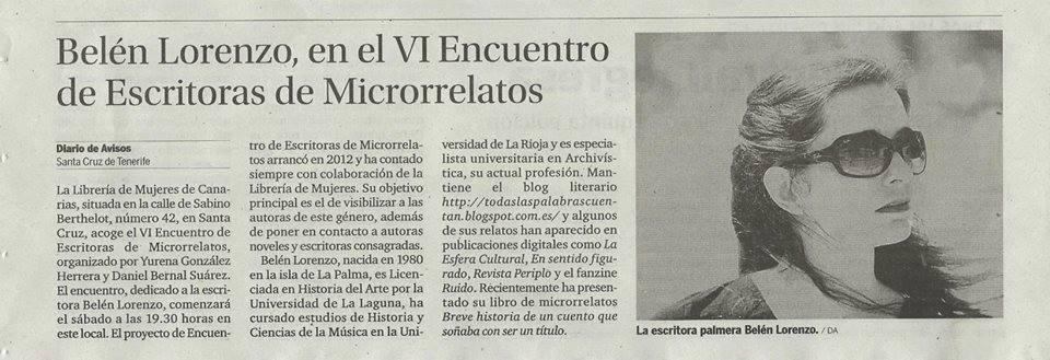 Diario de Avisos, 8 de abril de 2015.