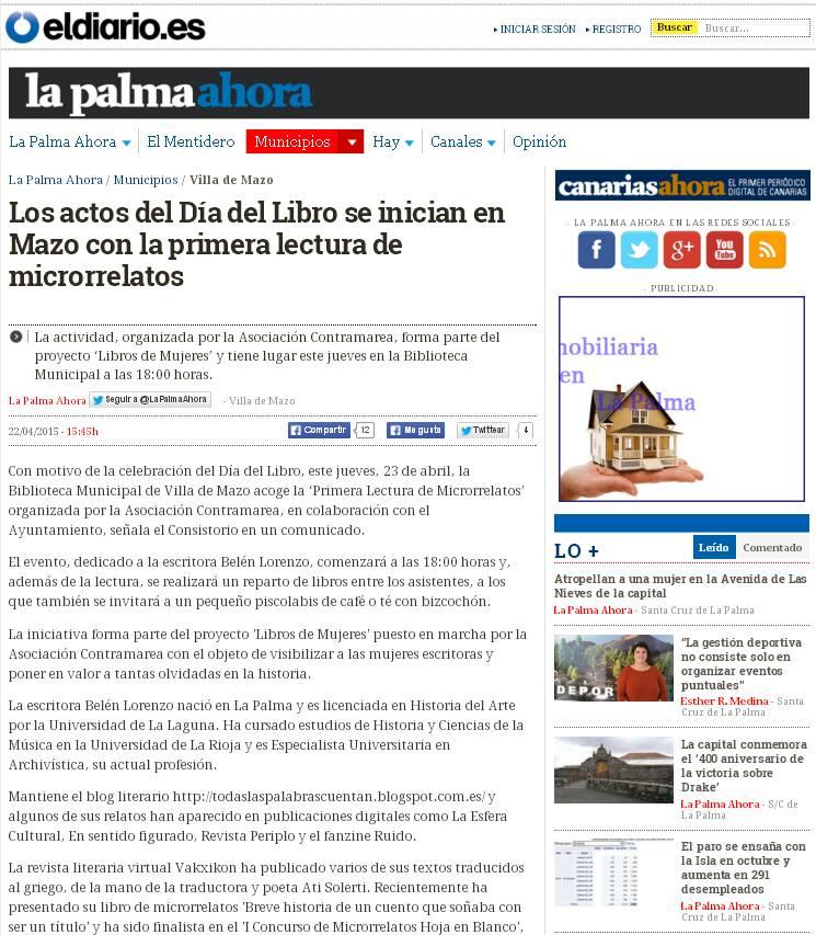 Lectura de micros en Villa de Mazo: http://www.eldiario.es/lapalmaahora/municipios/villa_de_mazo/Dia-Libro-Mazo-lectura-microrrelatos_0_380062664.html