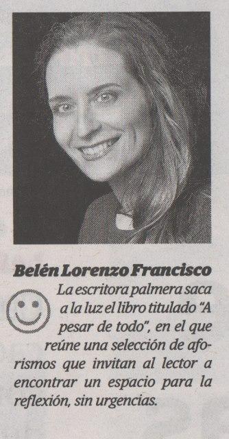 """""""Nombres propios. Belén Lorenzo Francisco"""". El Día, 28 de junio de 2017, p. 2."""