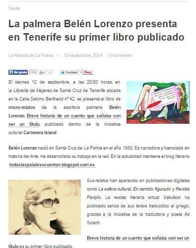 Primera presentación de 'Breve historia de un cuento que soñaba con ser un título': http://www.larevistadelapalma.com/la-palmera-belen-lorenzo-presenta-primer-libro-tenerife/